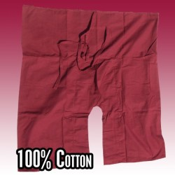 3/4 short Thai fisherman pants - dark red - cotton
