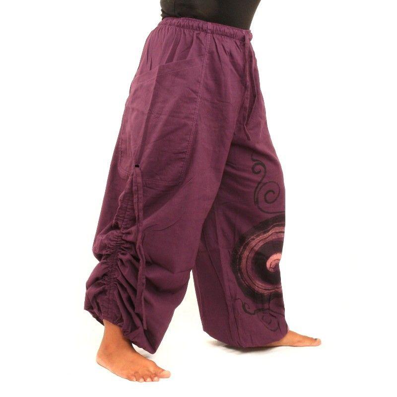 Pantalones hippie tailandeses patrón espiral