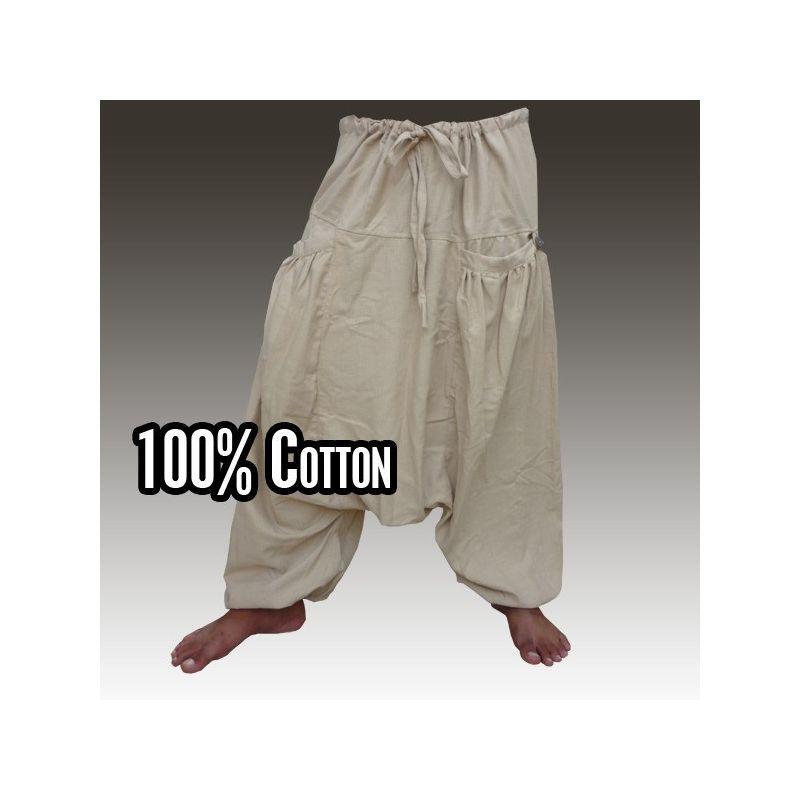 Aladdin pants Afghan Afghani Trousers Cottonmix with 2 sleeve-shaped side pockets