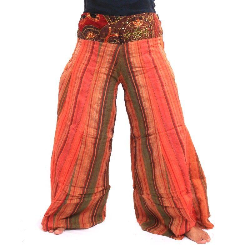 pantalones palazzo de algodón de Nepal, multicolor
