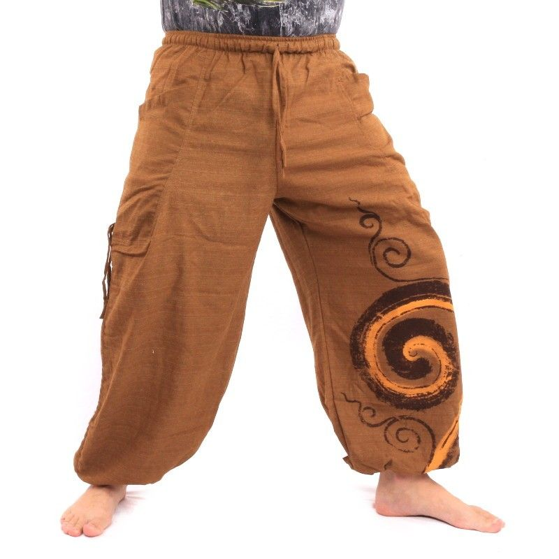 Harem pants to tie Spiral design made of heavy cotton