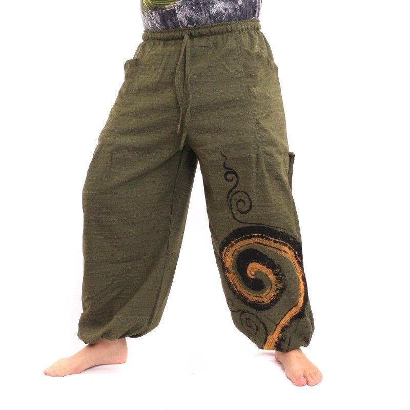 Haremshose zum Zubinden Spiral Design aus schwerer Baumwolle