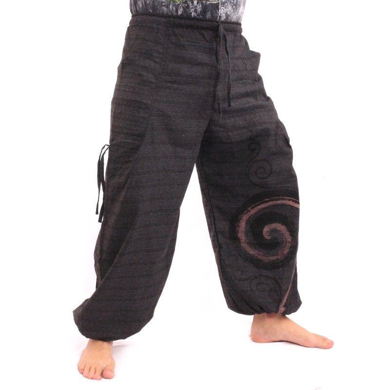 Pantalones harén para atar el diseño en espiral de algodón grueso