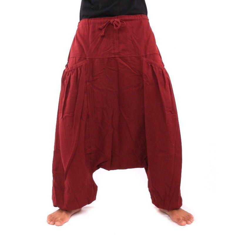 pantalones afganos Cottonmix en forma de concha con dos bolsillos laterales, Burdeos