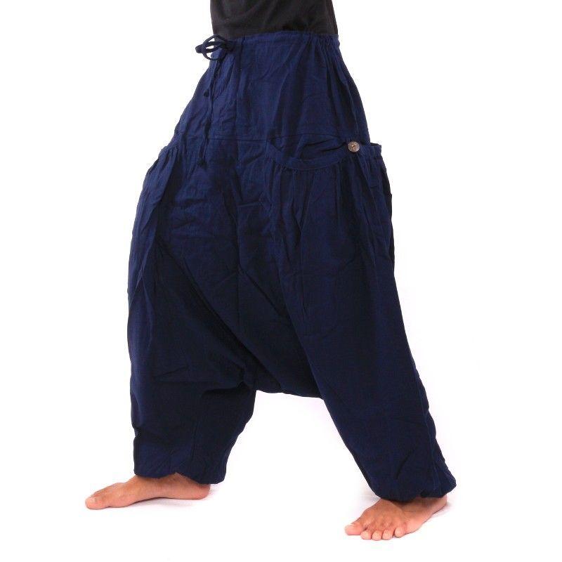Harén Afgani pantalones algodón mezcla con 2 bolsillos en forma de concha