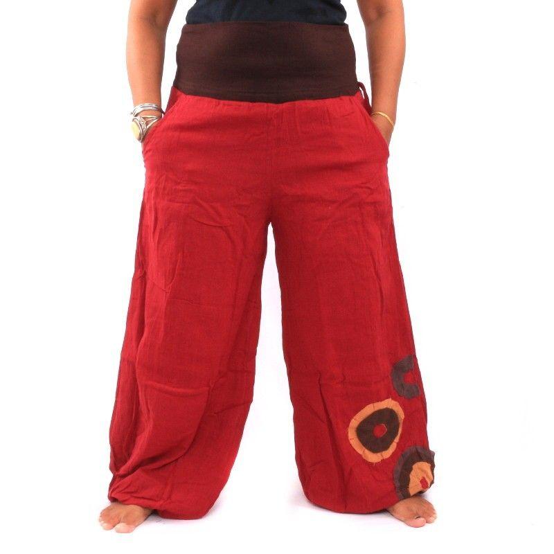 Palazzo pantalones de doble capa de algodón - rojo