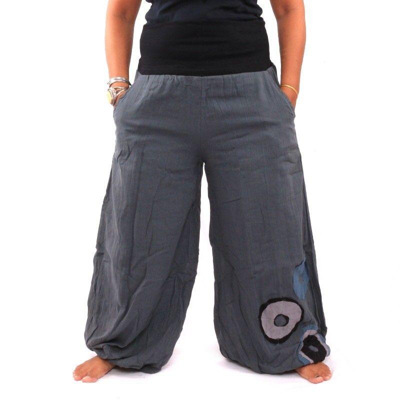 pantalones palazzo de algodón de dos capas - gris