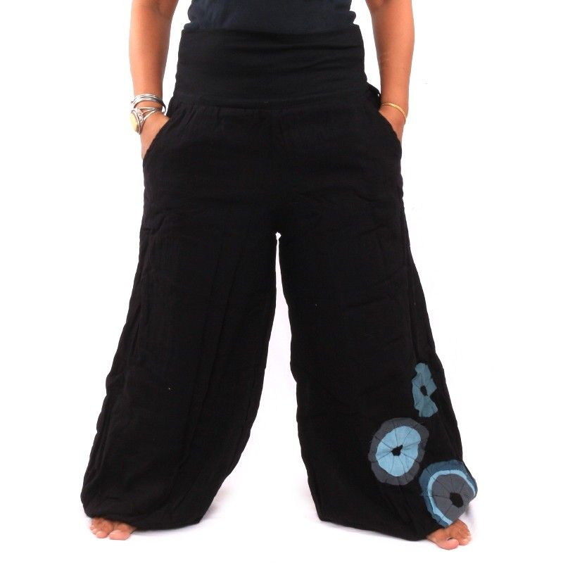 Palazzo pants cotton double-layered - black