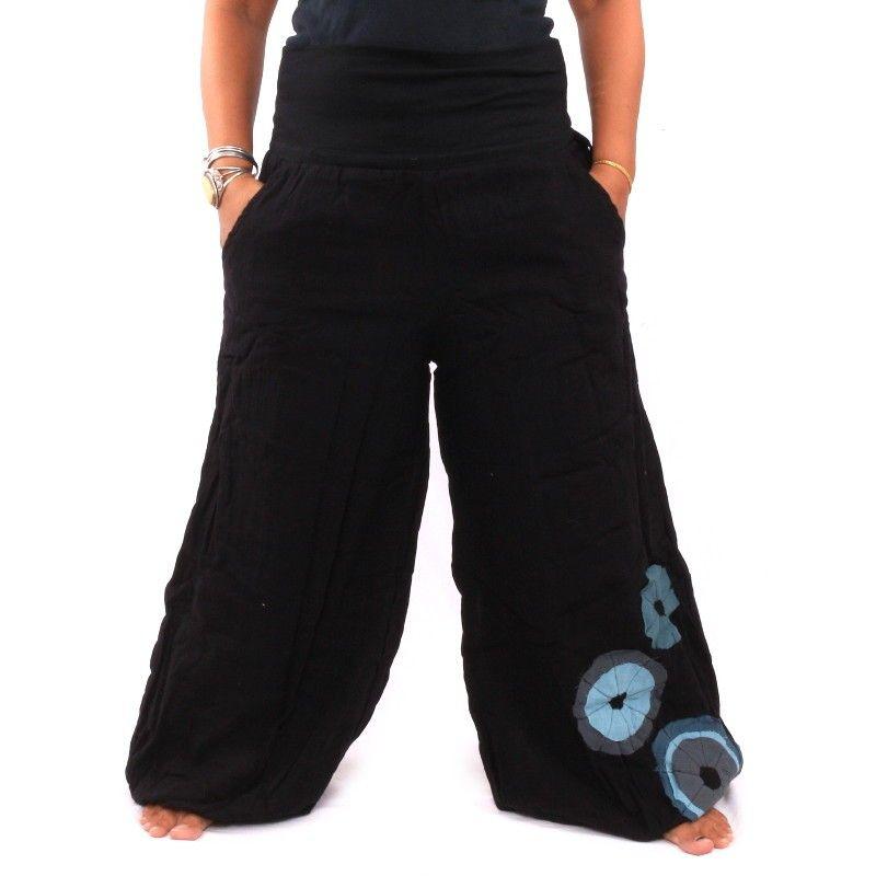 pantalones palazzo de algodón de dos capas - Negro