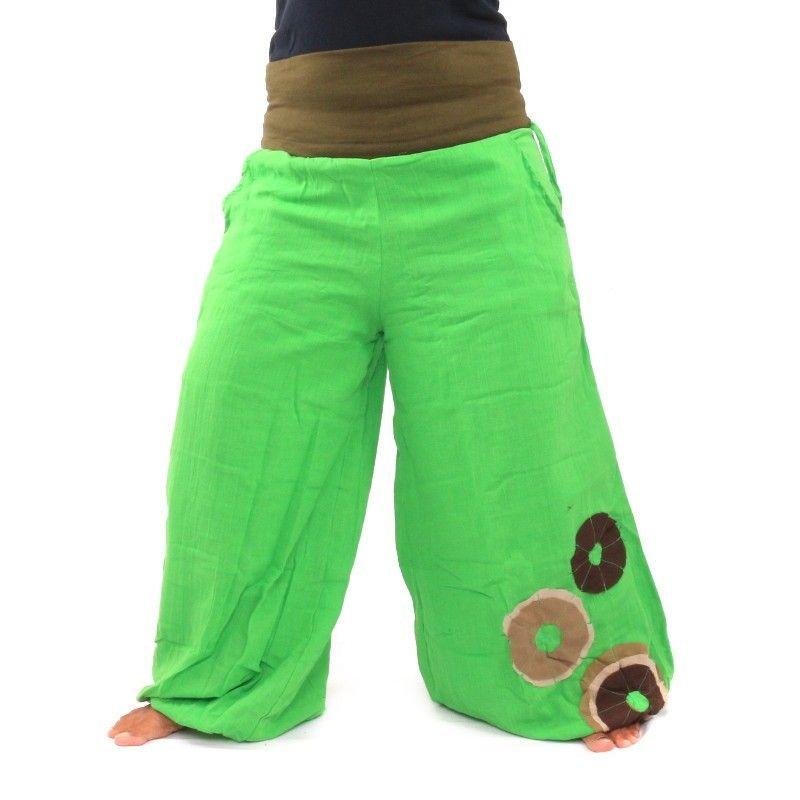 pantalones Palazzo algodón dos capas - verde