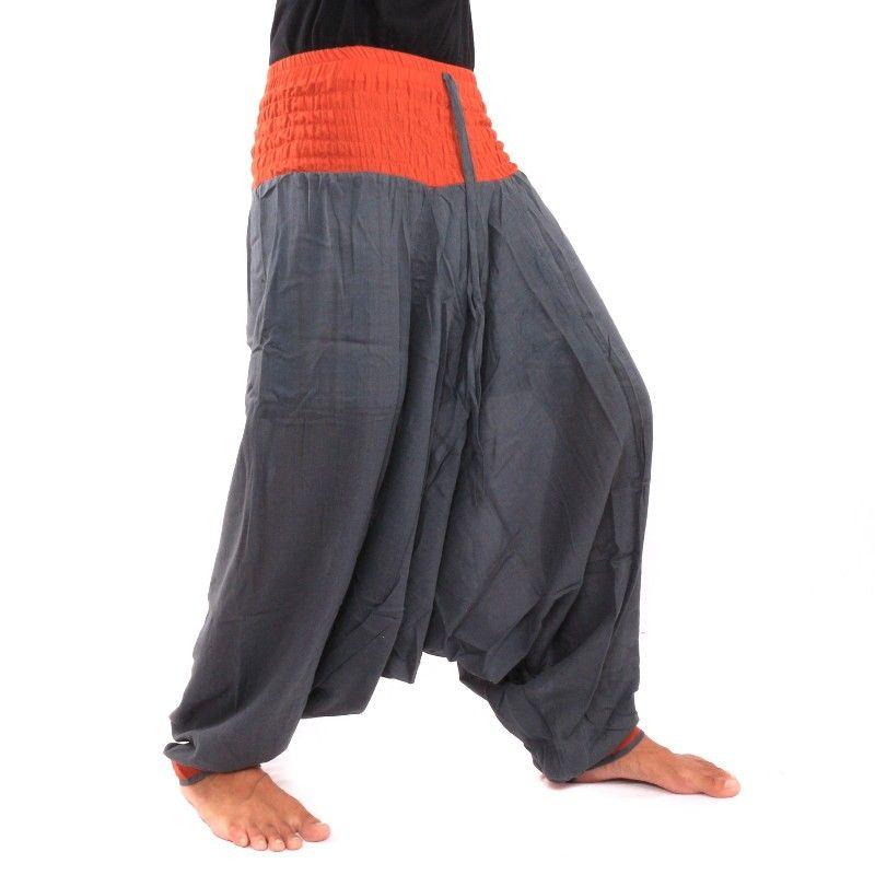 Baggy Pants - gray / orange
