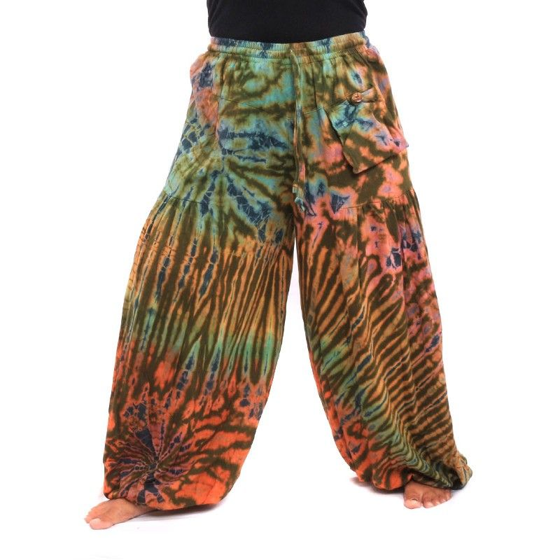 Hippie batik pantalones elásticos