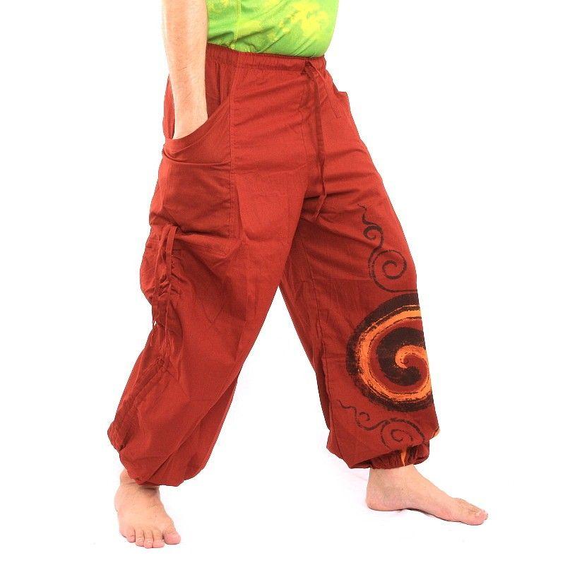 pantalones harén impresos patrón en espiral de color rojo