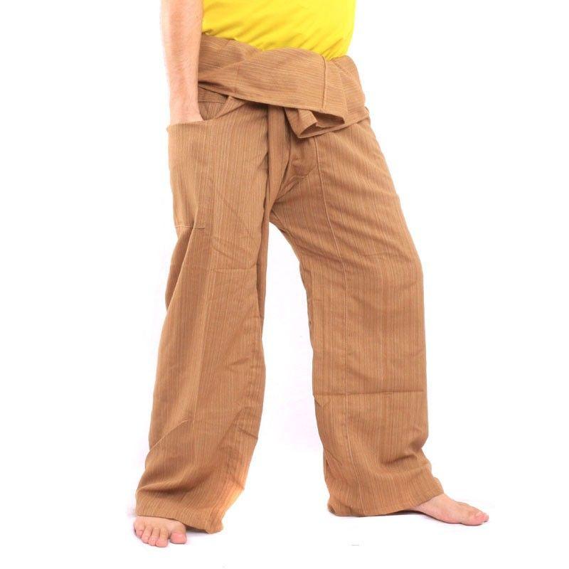 Pantalón de pescador tailandés Cottonmix extra largo - marrón claro
