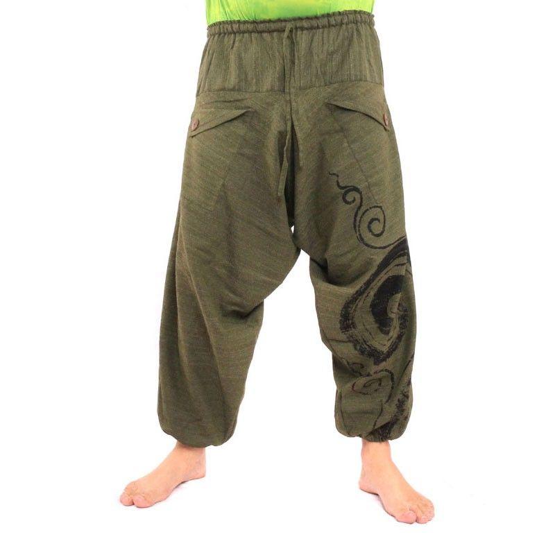 Pantalones de harén con Espiral / Diseño Floral Impreso - de oliva