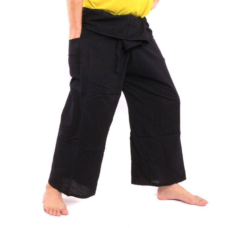 Pantalones de pantalón pescador tailandés - negro - algodón