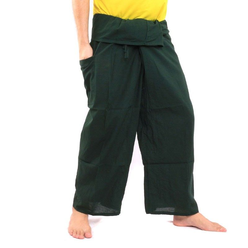 Pantalones pescador tailandés - dunkelgrün- algodón