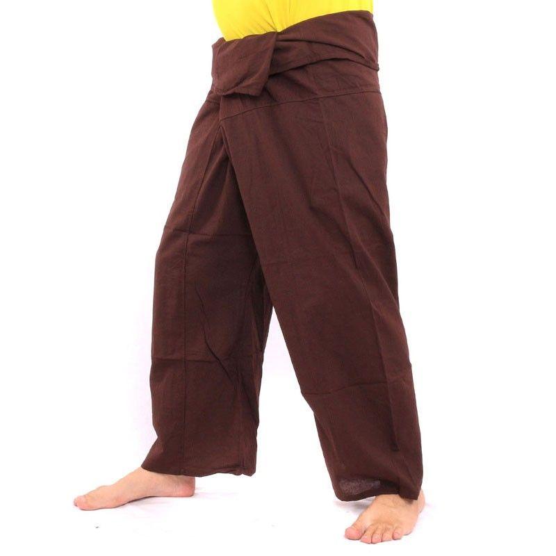 Pantalones pescador tailandés - Marrón oscuro - Algodón