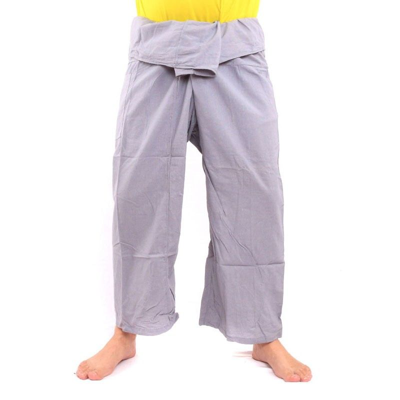 Pantalones pescador tailandés - gris - Algodón