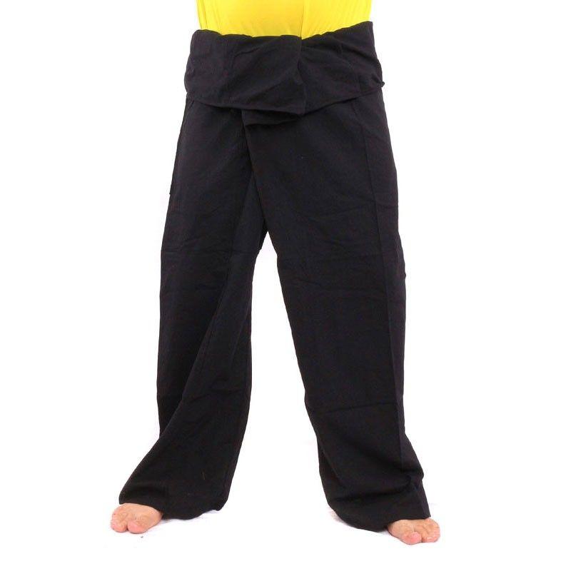 Pantalón pescador tailandés negro - extra largo