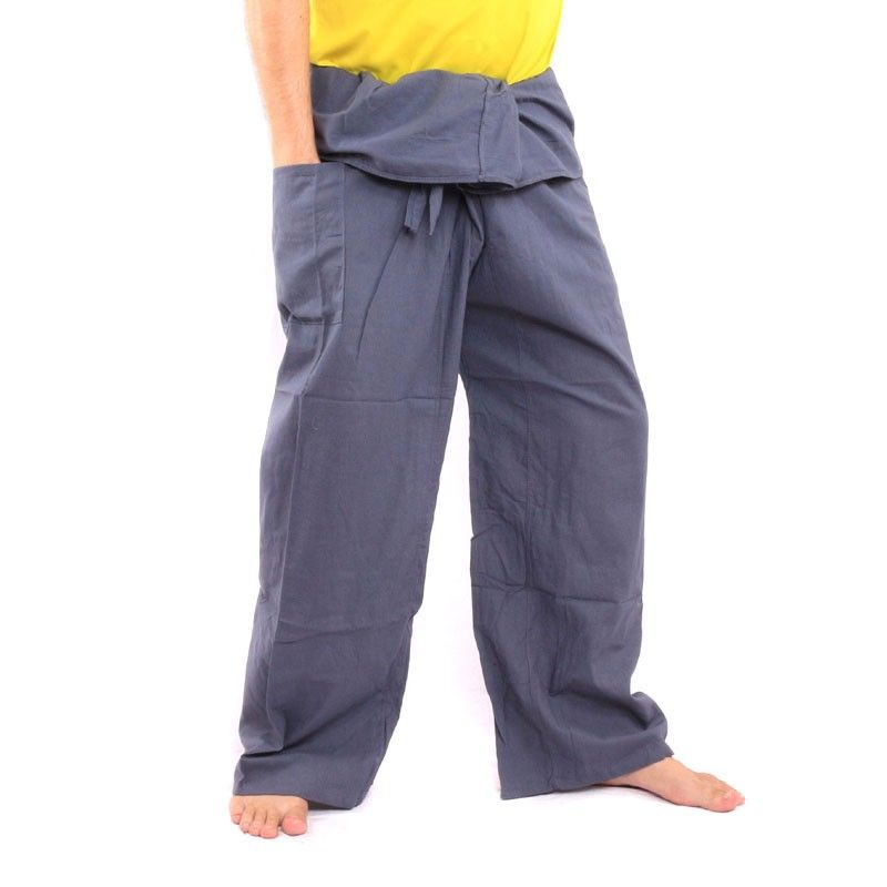 pantalones pescador tailandés - gris - algodón extra larga