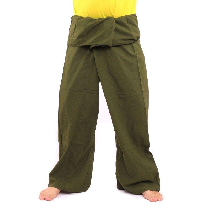 pantalones pescador tailandés - algodón verde-extralargo