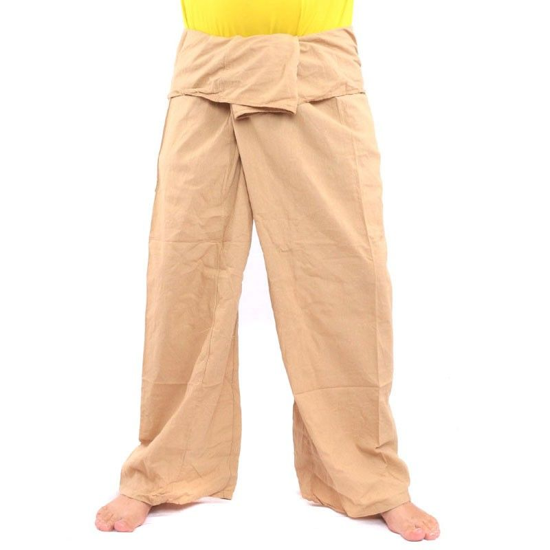 Thai wrap pants - khaki- extra long- cotton