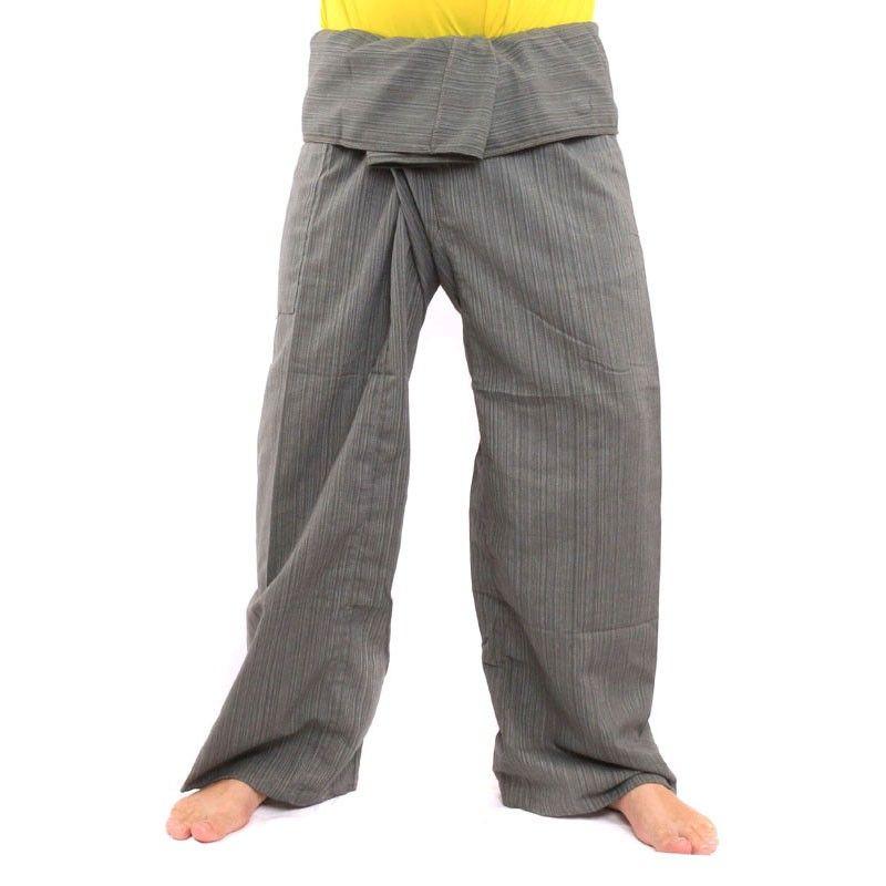Pantalón de pescador tailandés Cottonmix extra largo - gris