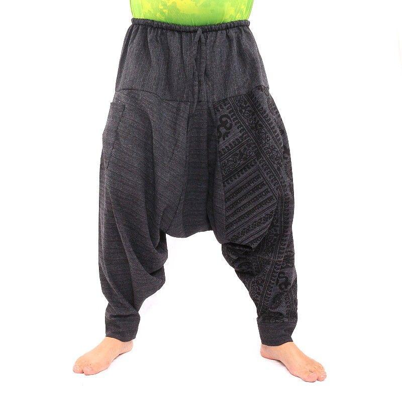 Aladdin Pants with Sanskrit symbols cotton mix black