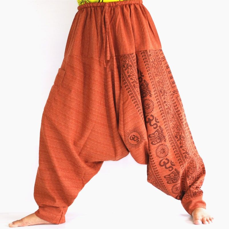 Aladdin pants with Sanskrit symbols cotton mix reddish brown