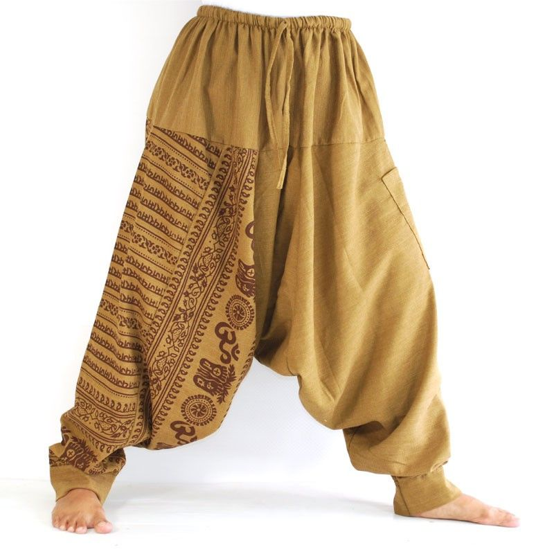 Aladdin con sánscrito símbolos de algodón ligero mezcla marrón