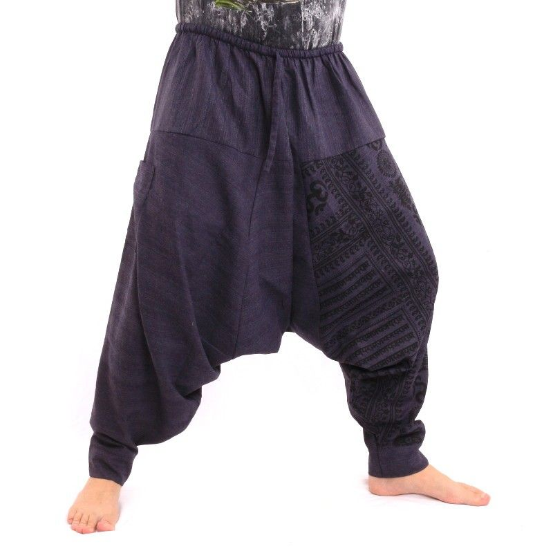 Aladdin con sánscrito símbolos algodón de la mezcla de color azul oscuro