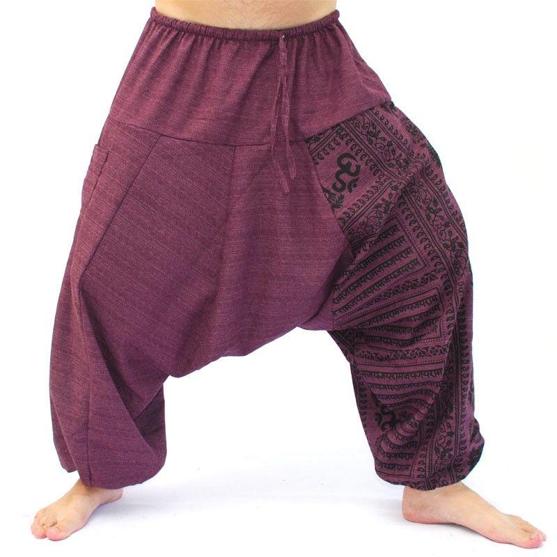 Aladdin pants with Sanskrit symbols cotton mix magenta