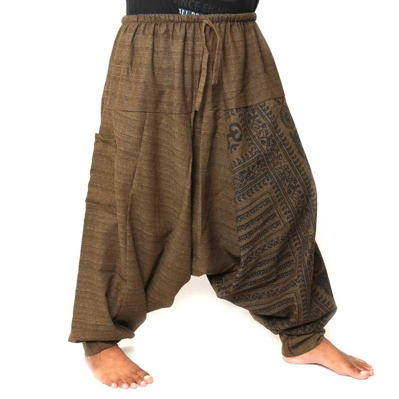 Aladdin pants with Sanskrit symbols cotton mix brown
