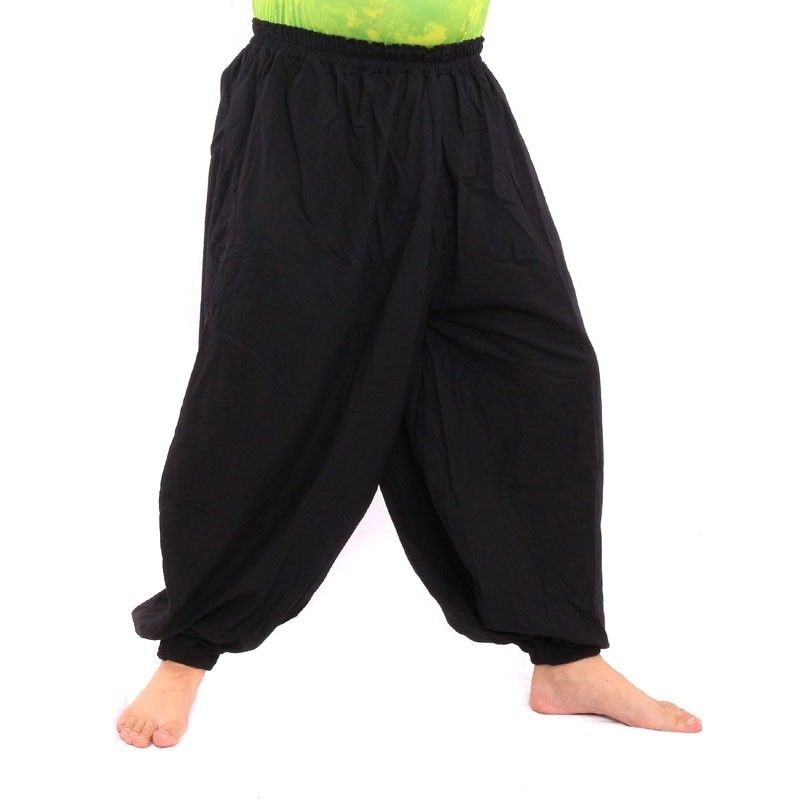 Algodón negro pantalones de harén