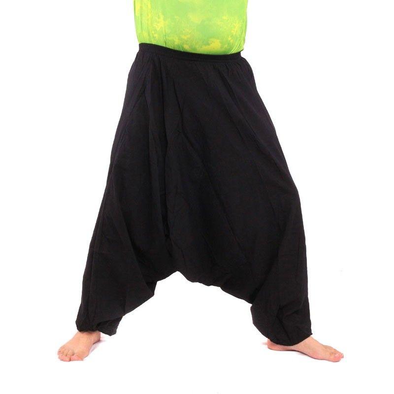 Pantalones harem pantalones holgados de algodón negro