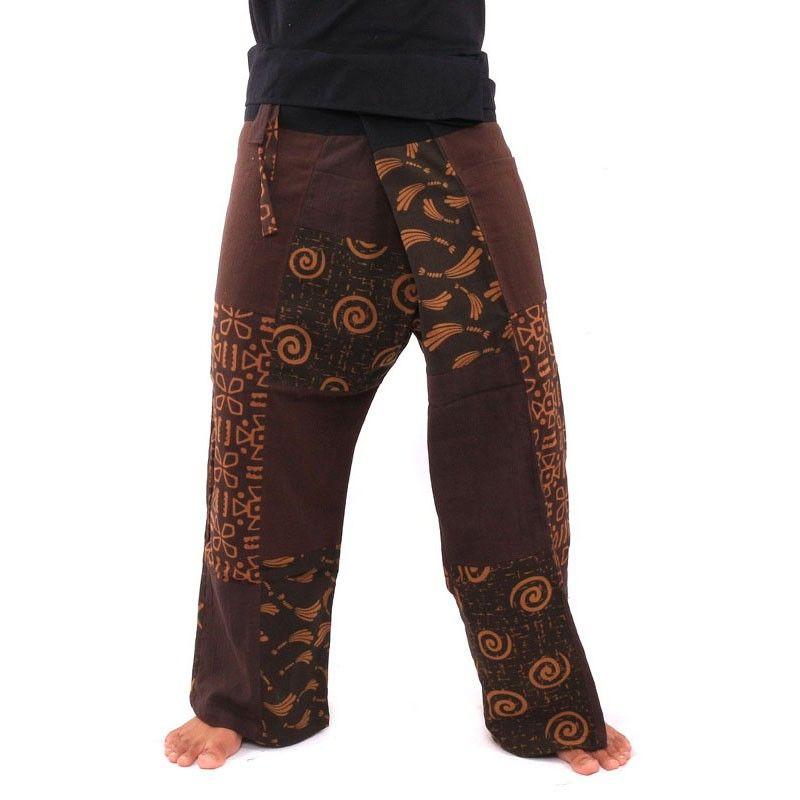 Pescador pantalones tailandeses Patchwork talla M