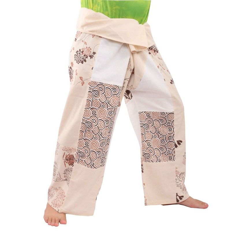 pantalones pescador tailandés remiendo Talla L
