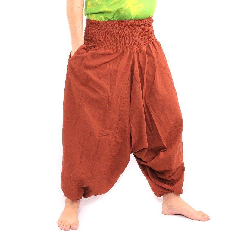 Pantalones harén en algodón marrón claro
