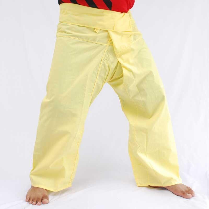 Pantalones de pescador Thai-viscosidad - amarillo