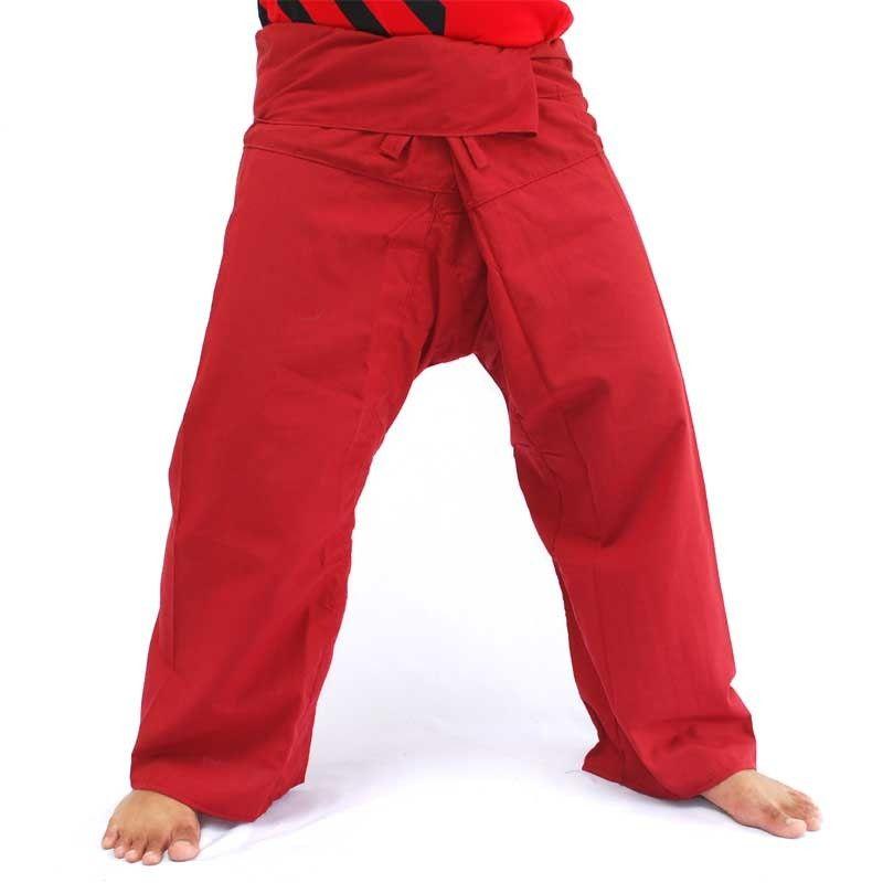 Pantalón tailandés Tailandia viscoso rojo oscuro