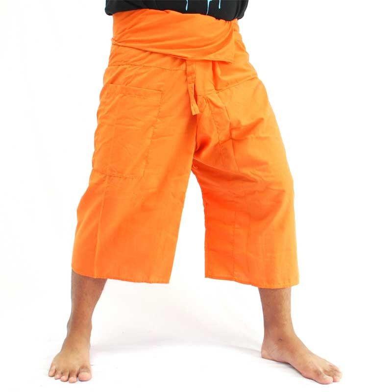 3/4 Pantalón pescador tailandés naranja viscosa