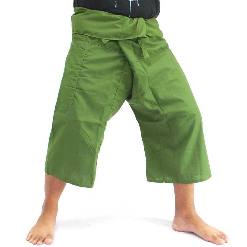 TOOLEE San San Sii Faa 3/4 pantalones pescador tailandés verde oscuro