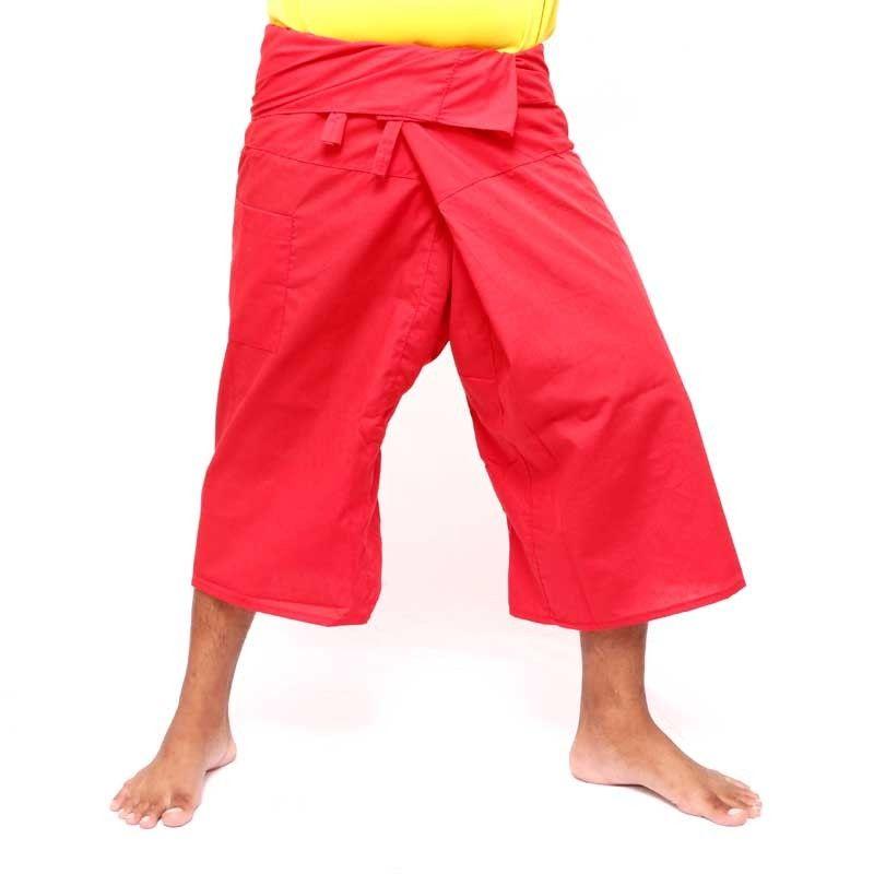 Pantalón pescador Thai 3/4 rojo