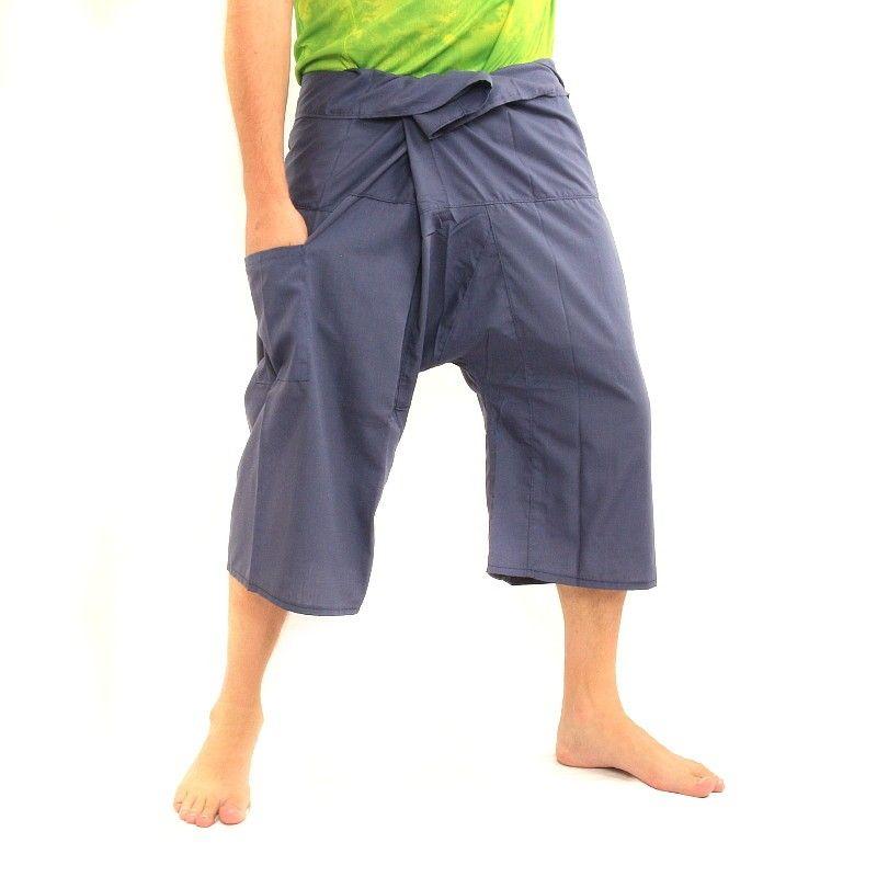 3/4 pantalones de pescador tailandés rayón azul