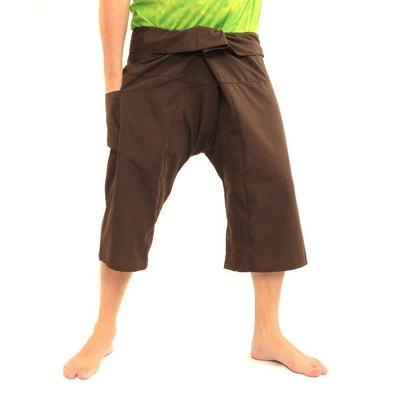 Pescadores tailandeses pantalón viscoso marrón oscuro