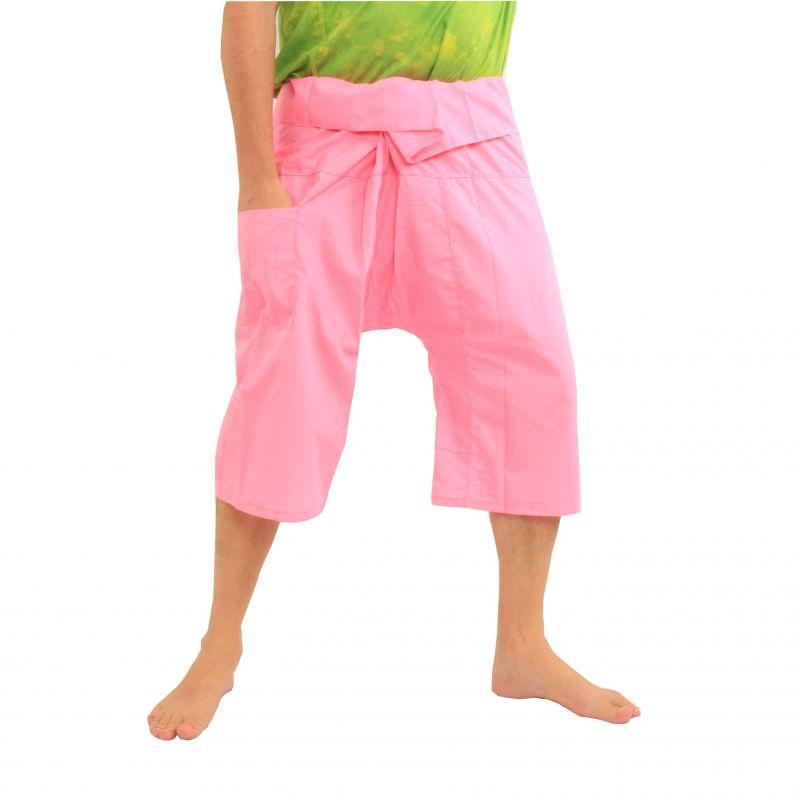 3/4 pescador tailandés pantalones rosa viscosa