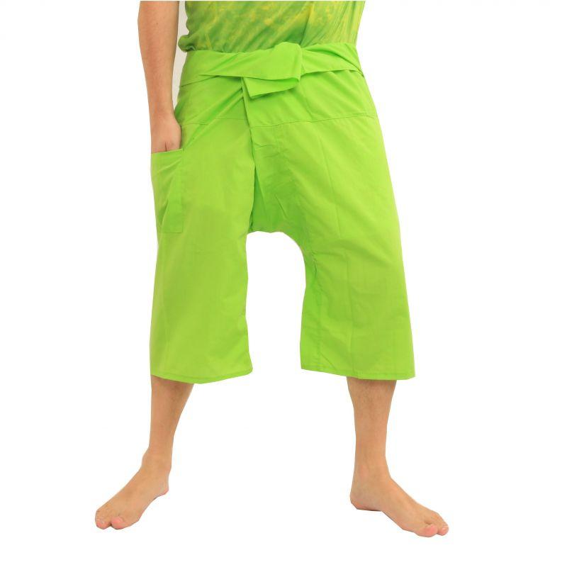 3/4 pantalones de pescador Thai-viscosidad verde claro