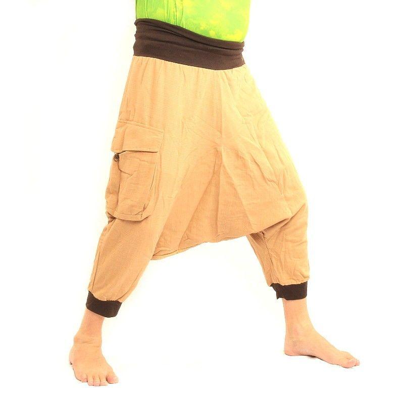 3/5 harem - color caqui con bolsillos laterales grandes