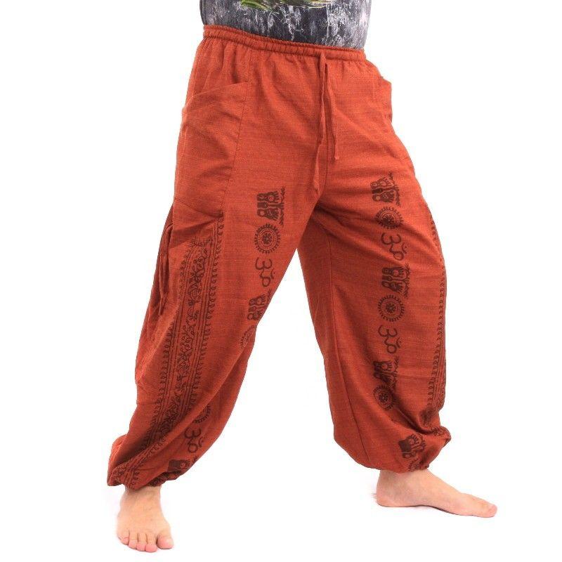 Pantalones harem Pantalones holgados Om algodón mezcla naranja